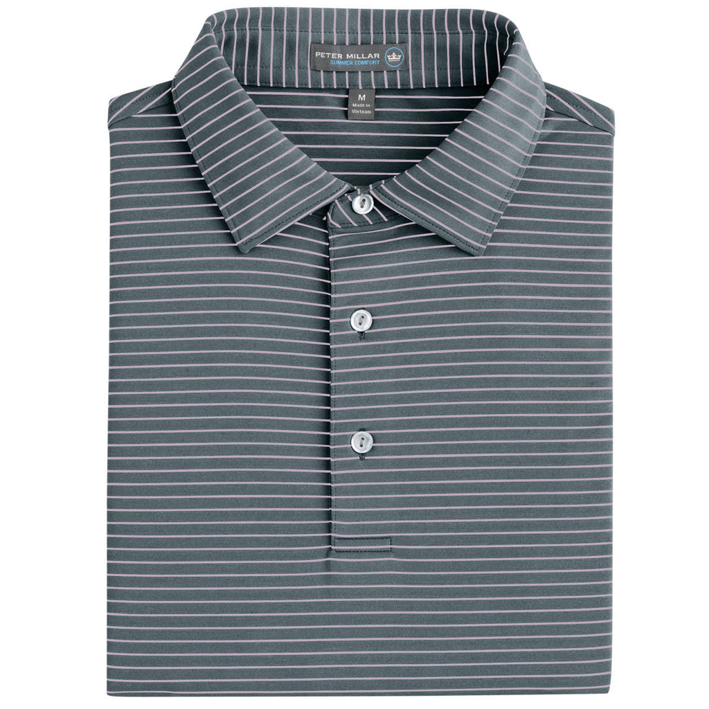 Peter Millar - Commander Stripe Stretch Jersey Polo - PEBBLE -SZ LARGE
