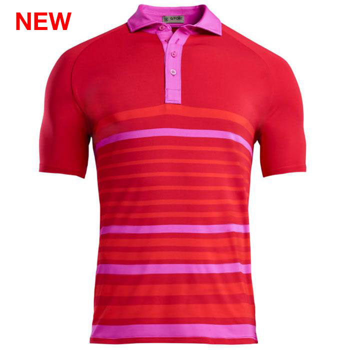 G/FORE MENS VARIEGATED STRIPE POLO - CADIUM