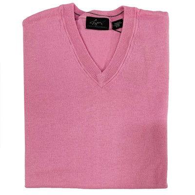 Greg Norman Men's Mystic Long Sleeve V-Neck Sweater - Pink Moon Heather