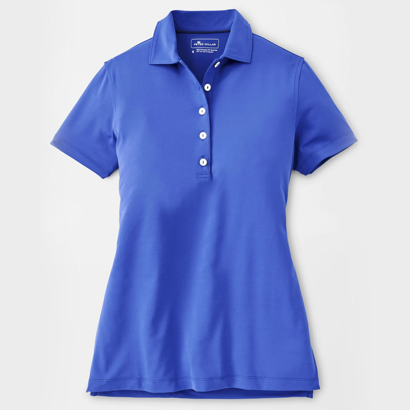 Peter Millar Women's Linked Print Trim Short-Sleeve Polo - FINCH BLUE - sz SMALL