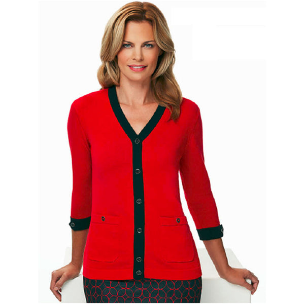 Greg Norman Ladies 3/4 Sleeve V-Neck Cardigan