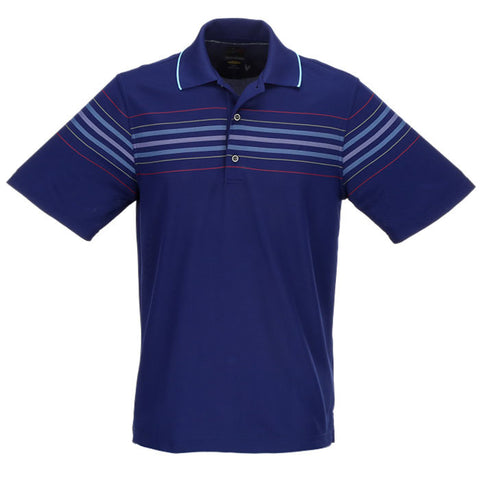 Greg Norman Engineered Stripe Polo - Nautical Blue