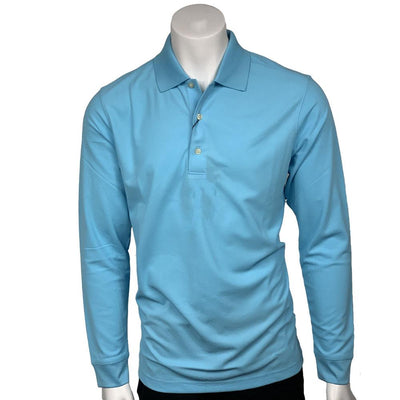 GREG NORMAN MEN'S SOLAR XP WEATHERKNIT LONG SLEEVE PIQUE POLO - SKY