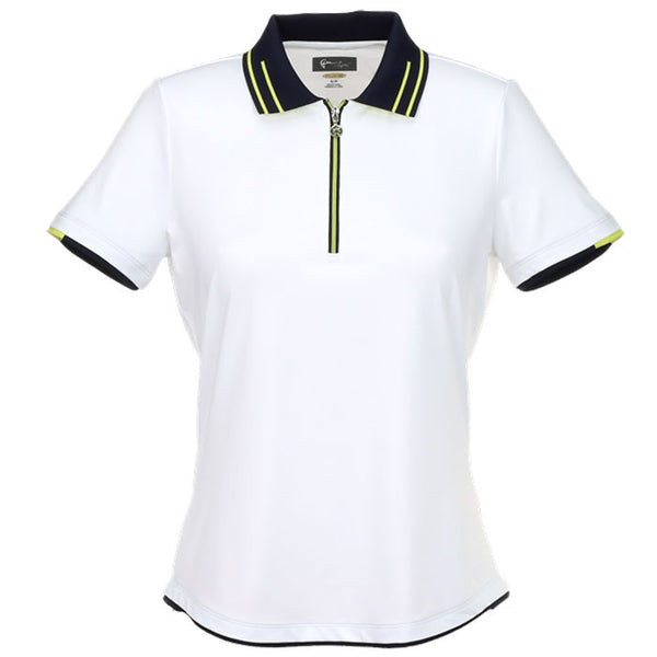 Greg Norman Ladies Short Sleeve Zip Contrast Trim Polo