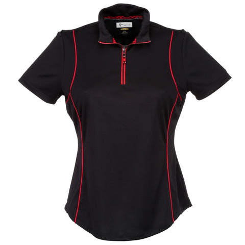 Greg Norman Ladies Short Sleeve Zip Piped Polo
