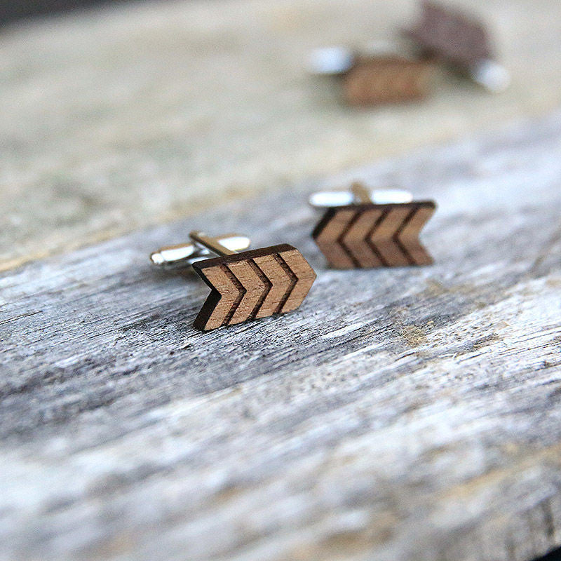Laser Cut Wooden Cufflinks