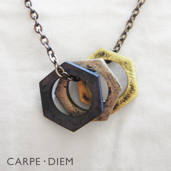 Tri Toned Bolted Necklace
