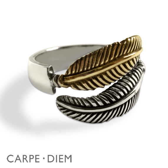 Double Feather Two Tone Ring