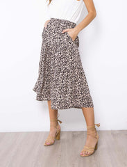 Bella Skirt |  BEIGE ANIMAL PRINT