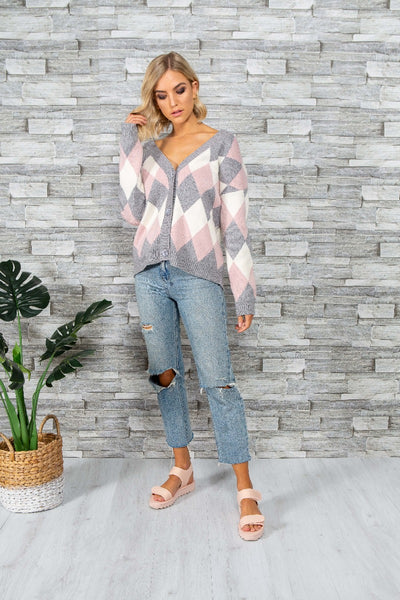 DIANA V-NECK CARDI | DIAMOND PINK - SALE