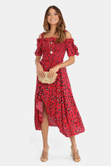 Clarissa Midi Dress | RED PRINT