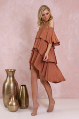 Santana Off The Shoulder Dress | Terracotta