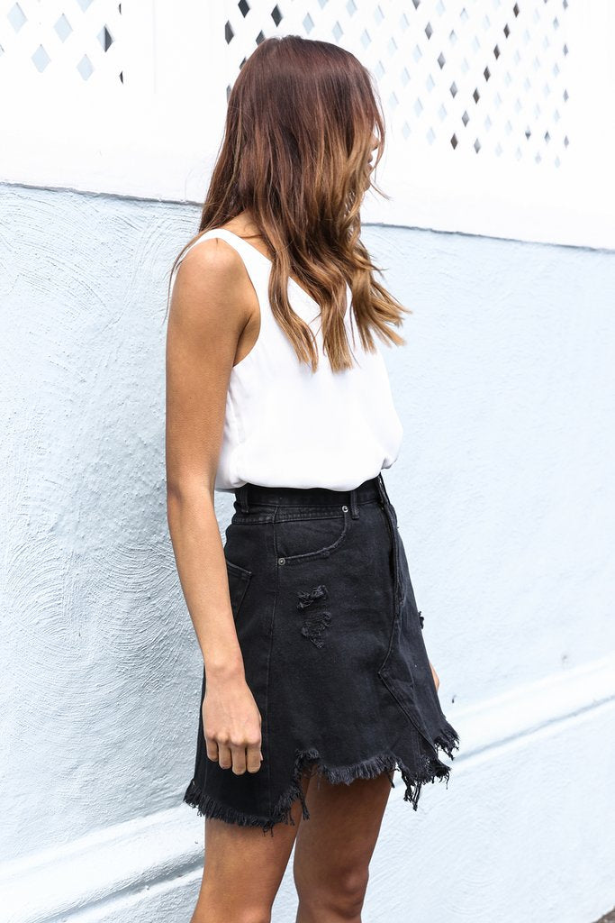 Jaymee Denim Skirt | BLACK