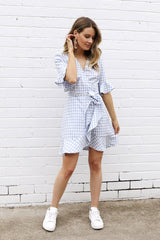 Checked Out Dress | BLUE - SALE