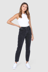 HARLOW MOM JEANS | BLACK DENIM