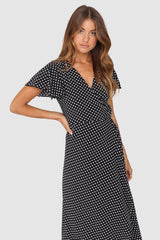 SOPHIA WRAP DRESS | BLACK SPOT