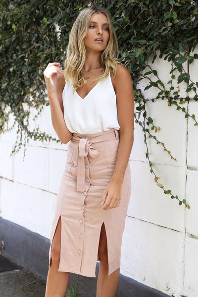 Melanie Midi Skirt | BLUSH - SALE