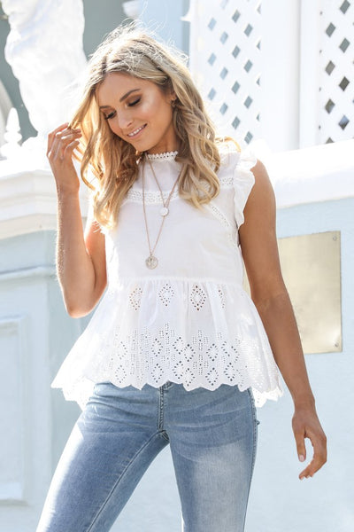 LUCINDA LACE TOP | WHITE - SALE