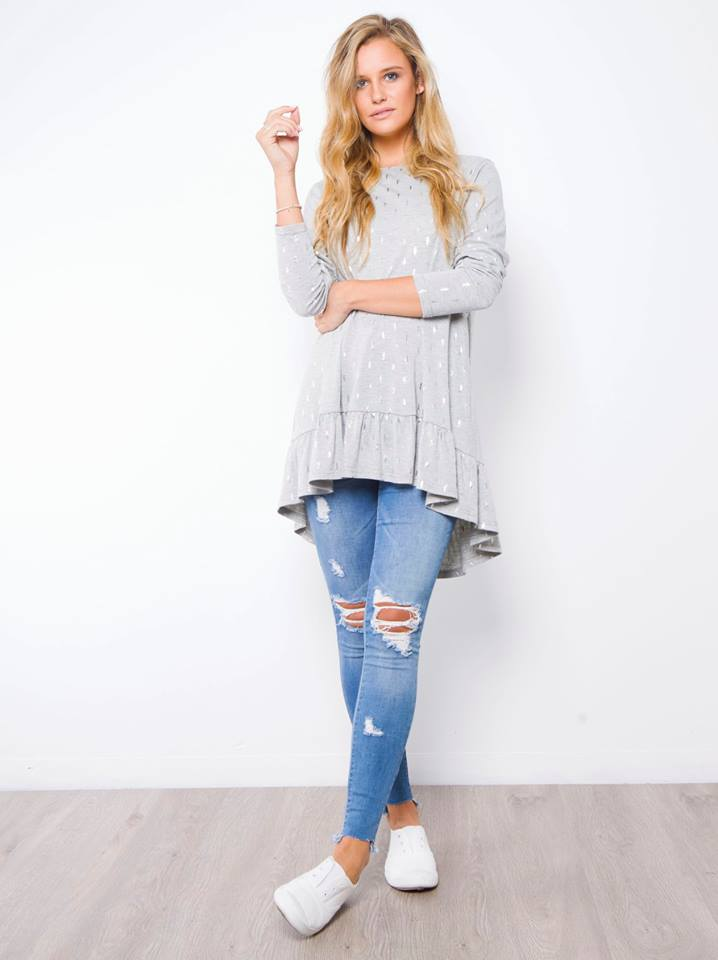 Silver Leaf Top | GREY - SALE
