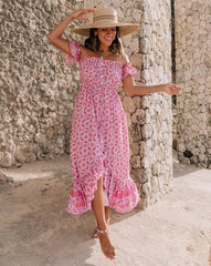 DESERT SUMMER OFF THE SHOULDER MAXI DRESS | PINK PRINT