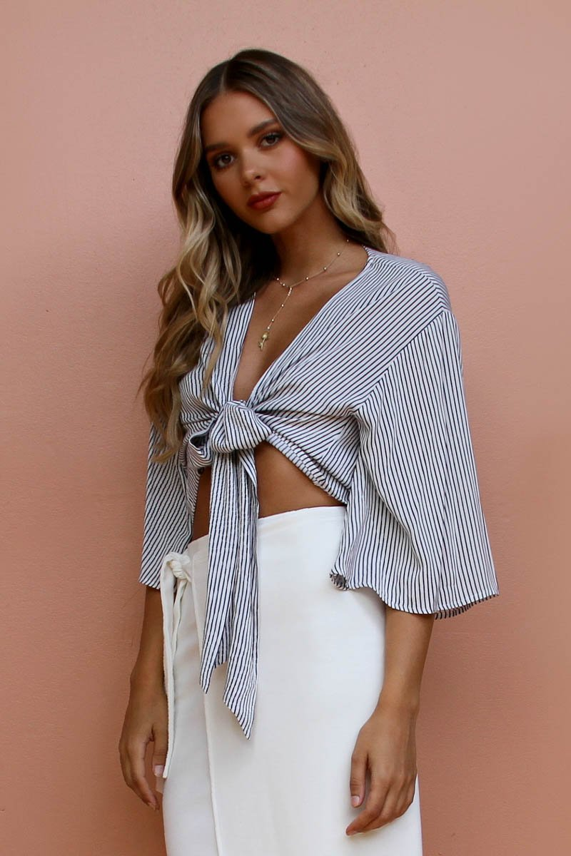 Georgia Tie Top | WHITE STRIPE - SALE
