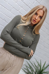 NADIA RIBBED TOP | KHAKI - SALE