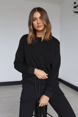 MADISON EMBOSSED SWEATER | BLACK