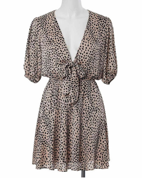 LAURA DRESS | BEIGE PRINT - SALE