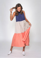 TEDDY COLOURBLOCK MAXI | NAVY/SAND/MELON - SALE