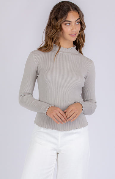 INEZ KNIT TOP | GREY -SALE