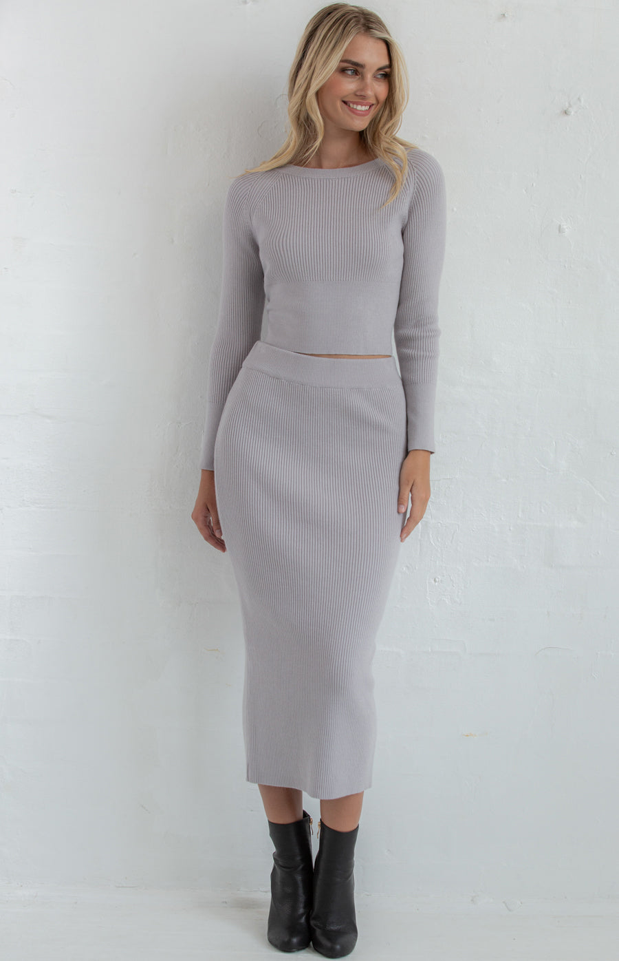 TIA FITTED KNIT SET | GREY -SALE