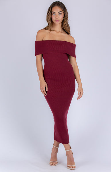 BIANCA KNIT DRESS | WINE - SALE
