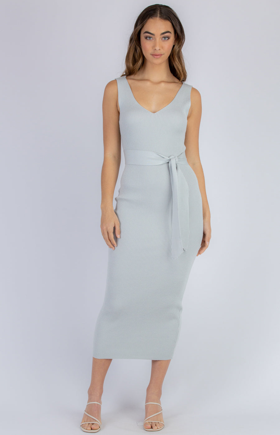 QUINN RIBBED KNIT MIDI DRESS | GREY