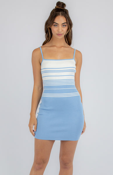 RACQUEL KNIT DRESS | BLUE STRIPE - SALE