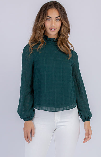 KARINE TEXTURED BLOUSE | GREEN - SALE