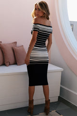 TAYLOR STRIPED KNIT MIDI | BLACK
