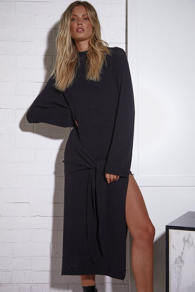 TIED UP KNIT DRESS | BLACK - SALE