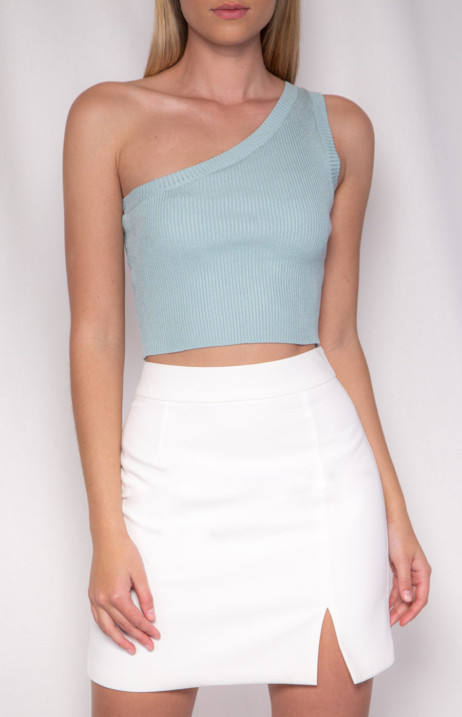 ISLA ONE SHOULDER CROP KNIT | MINT