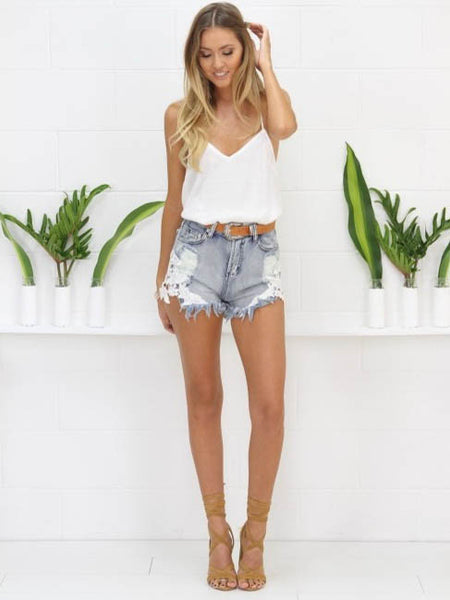 Cheeky Crochet Cut Offs Denim - SALE