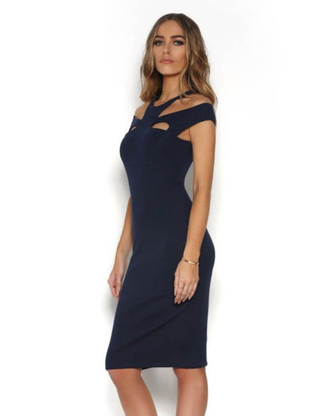 Blythe Midi Dress Navy - SALE