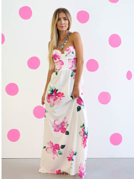 Contour Bodice Maxi Dress Pink Floral - SALE