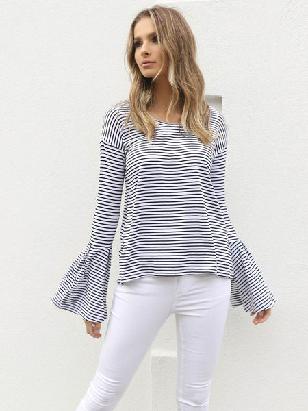 Harvey Stripe Top White - SALE