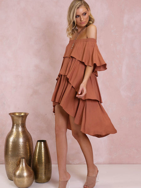 Santana Off The Shoulder Dress | Terracotta - SALE