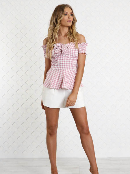 Ella Gingham Top | PINK - SALE