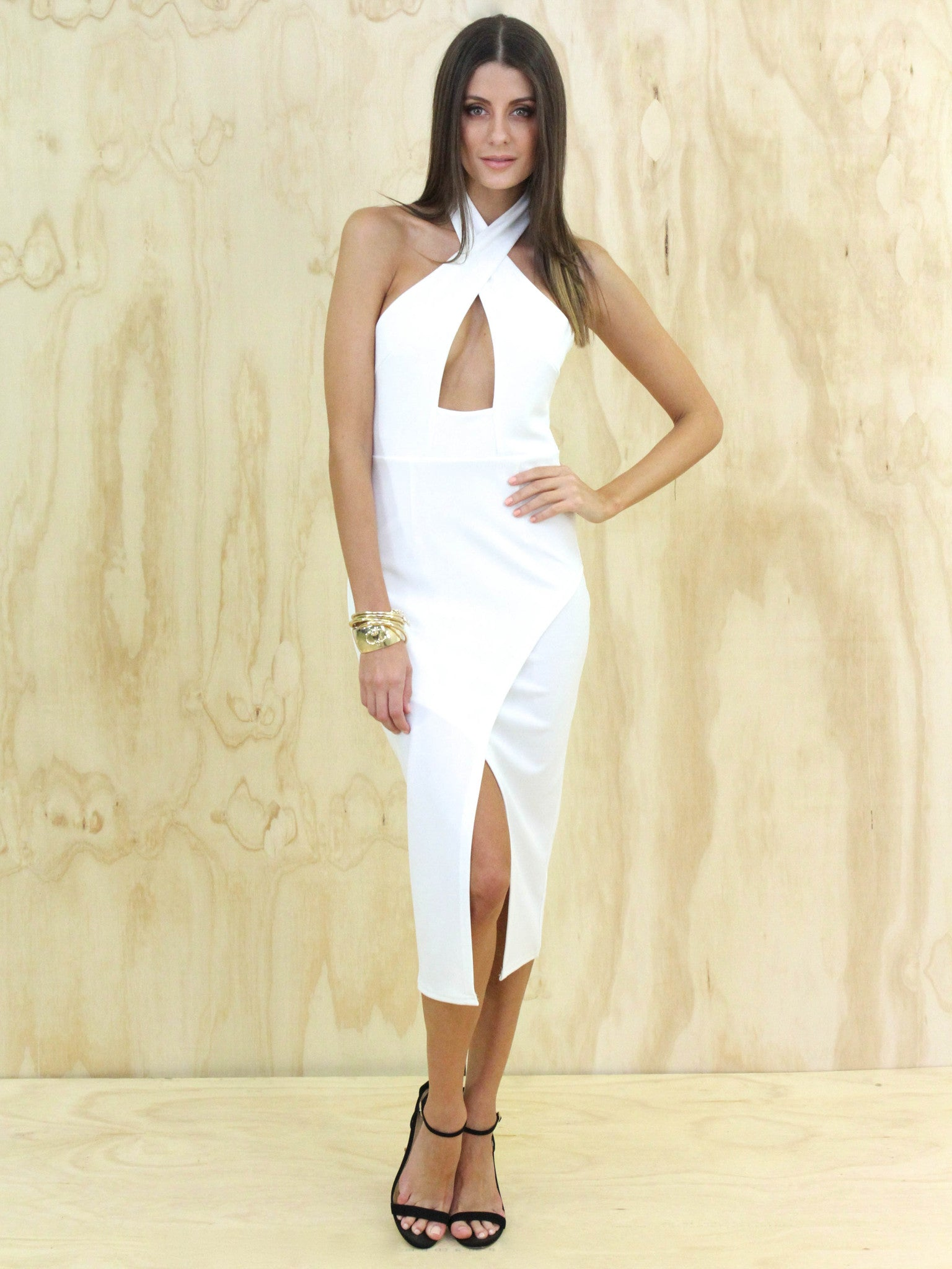 Cross Front Midi Dress White - SALE