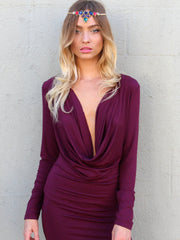 Mia Drape Dress Mulberry - SALE