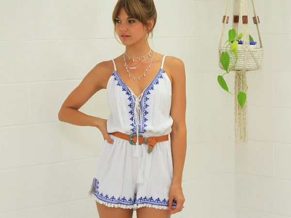 Emily Embroidery Playsuit - SALE