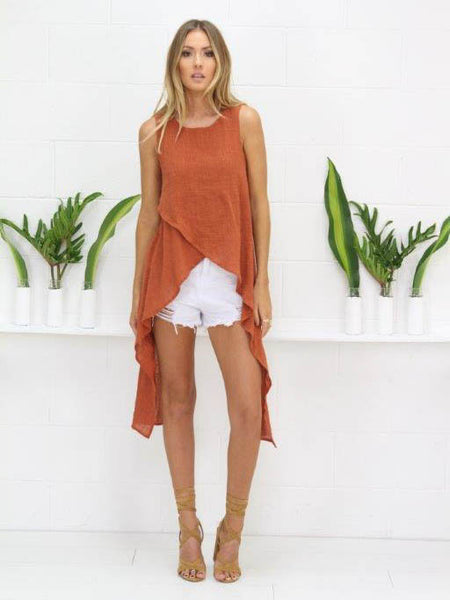 Little Lies Crepe Top Rust - SALE