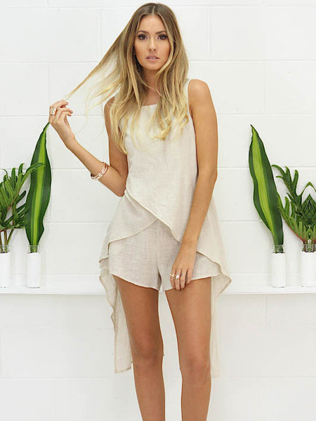 Little Lies Crepe Shorts Oatmeal - SALE