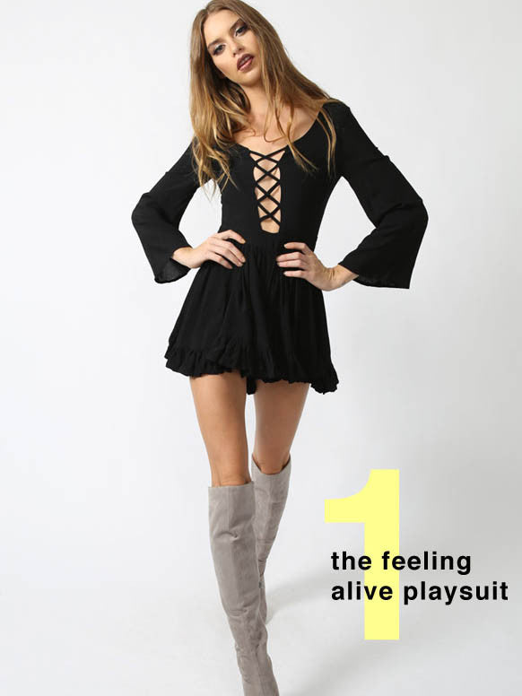 Feeling Alive Playsuit Black - SALE